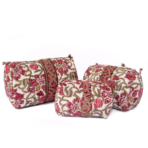 Hand Block Printed Toiletries Bag - SMALL in Wine Trellis