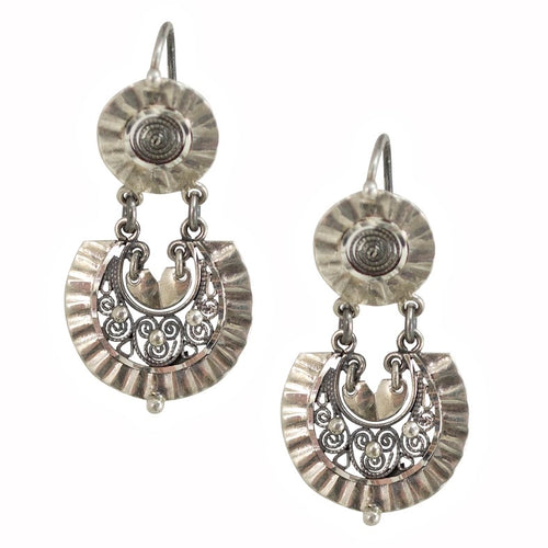 Traditional Silver Filigree Earrings from Oaxaca