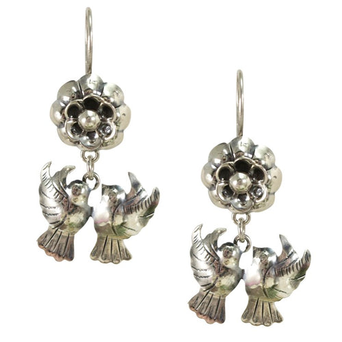 Silver Love Birds Drop Frida Kahlo Earrings from Taxco, Mexico