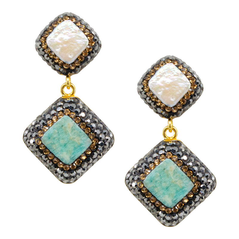 Turquoise and Baroque Pearl Post Earrings