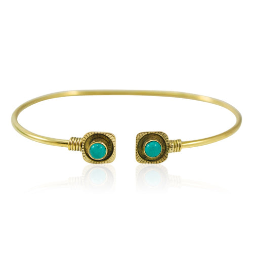 Turquoise and Bronze Open Bangle