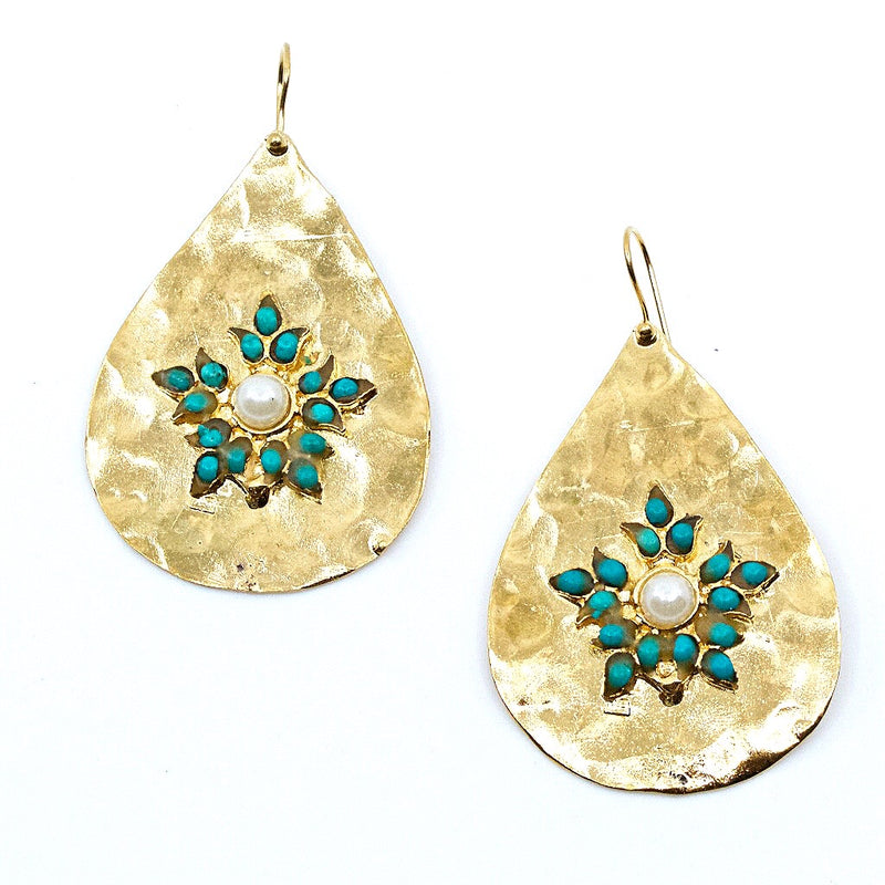 Ottoman Inspired Turquoise and Pearl Earrings