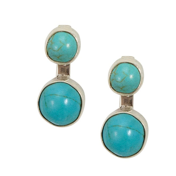 Turquoise Silver Post Earrings from Taxco, Mexico