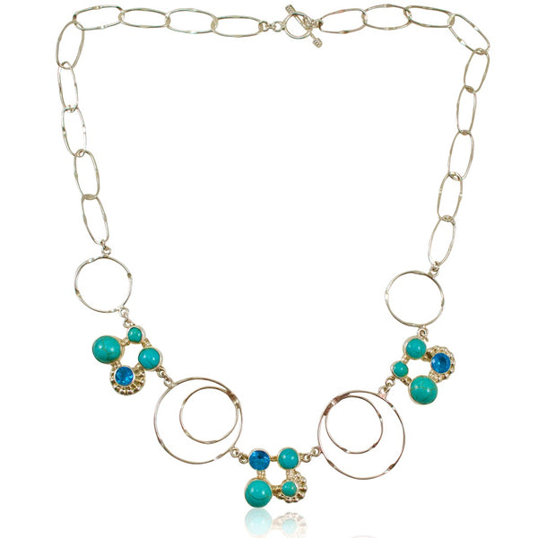 Turquoise, Crystal and Silver Necklace from Taxco, Mexico