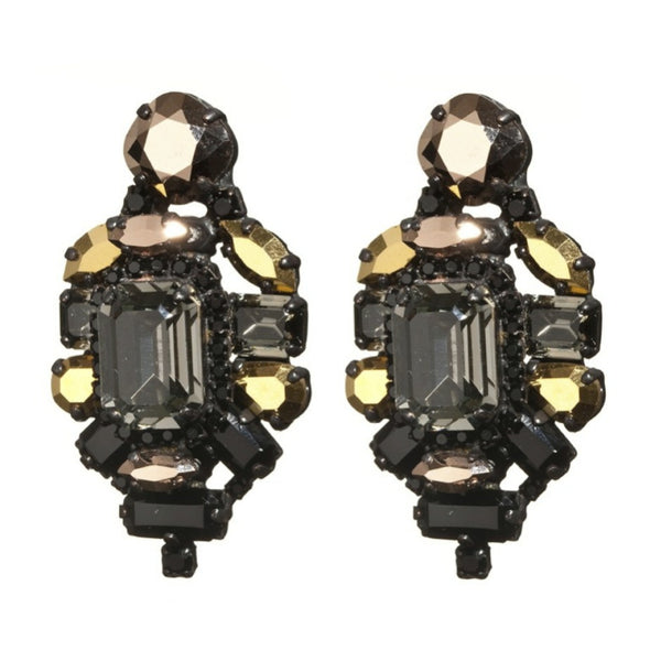 Stones and Square Earrings by LK Designs