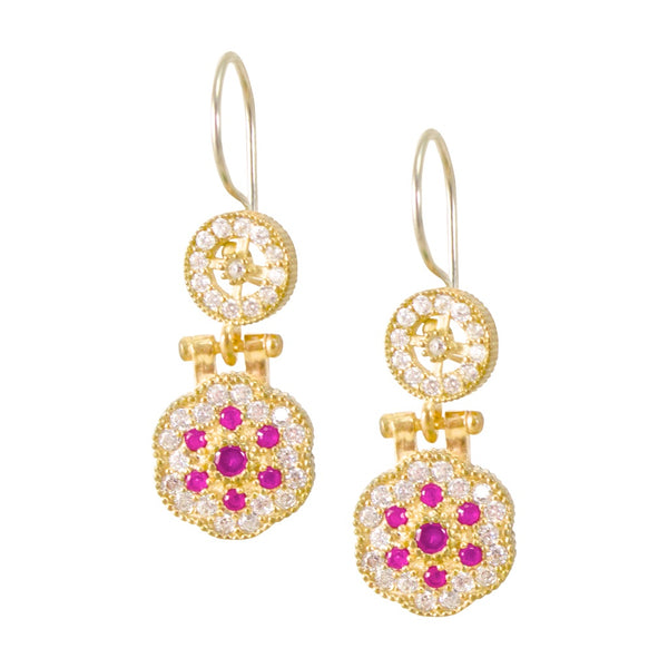 Vintage-Inspired Drop Turkish Earrings - Rubies