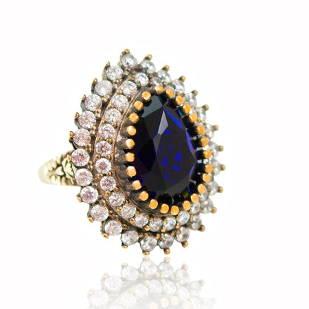 Ottoman-Inspired Sapphire Crystal Statement Ring - Adjustable