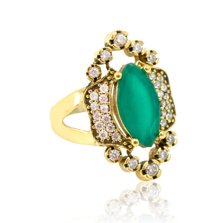 Antique-Ottoman-Inspired Turkish Earrings - Emeralds