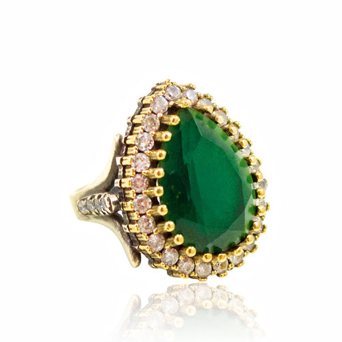 Ottoman-Inspired Green Crystal Statement Ring - Size 7