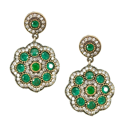 Vintage Turkish Flower Earrings - Emerald