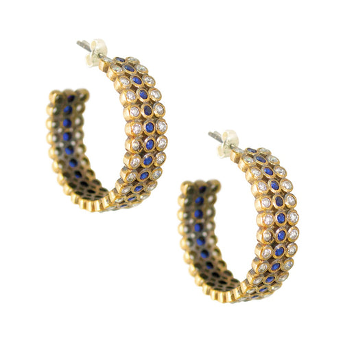 Vintage Turkish Hoop Earrings - Sapphire