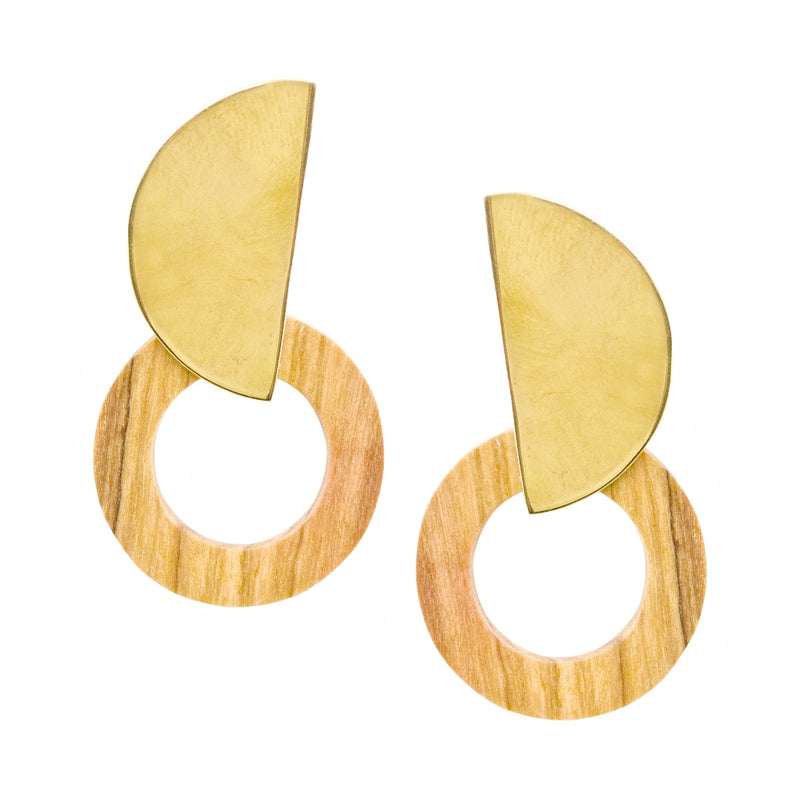 Sayari Hand Carved Wood and Brass Post Earrings