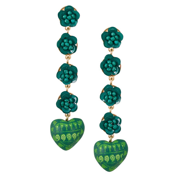 Drop Wood Carved and Hand Painted Heart Mexican Drop Earrings - Green