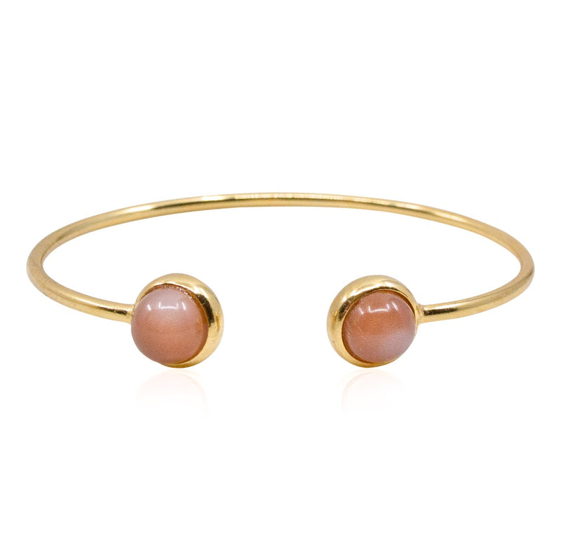 Rose Moonstone Wrap Bangle Bracelet