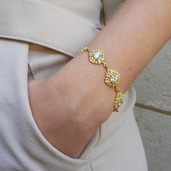 Queen Bracelet in Gold Plated .925 Silver + Cubic Zirconia  - By Ana Moura