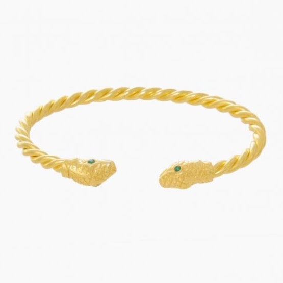 Gold Plated Silver Snake Open Bangle + Emerald  **PRE-ORDER SALE**