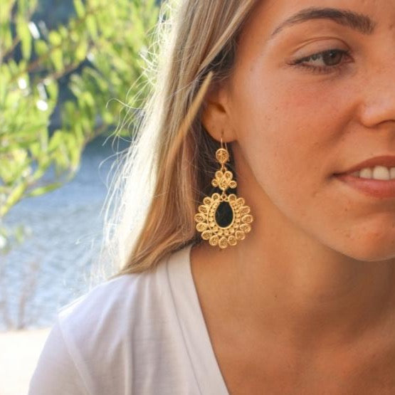 """Other Side of the Mirror"" Gold Plated Sterling Silver Filigree Earrings"