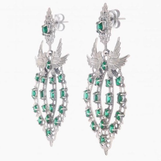 Dove Queen Earrings in .925 Silver + Emerald - By Ana Moura