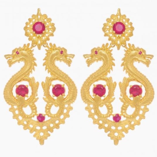 Queen Dragon Statement Earrings in Gold Plated .925 Silver + Ruby Crystal - By Ana Moura