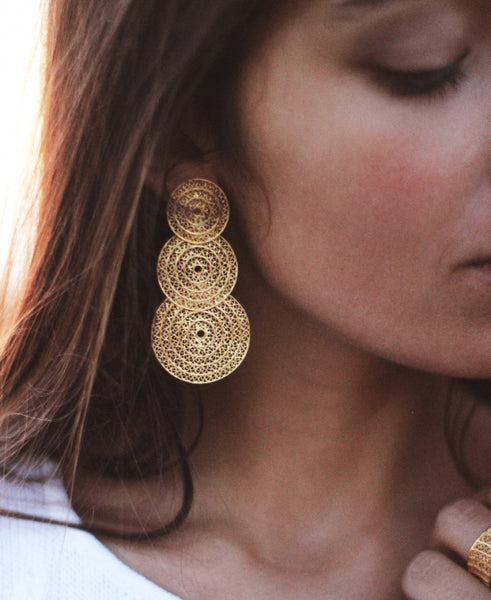 Three Circle Elegant Gold Plated Sterling Silver Filigree Earrings