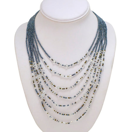 Hand Beaded Necklace - 24 Strand Gray, Crystal and Black