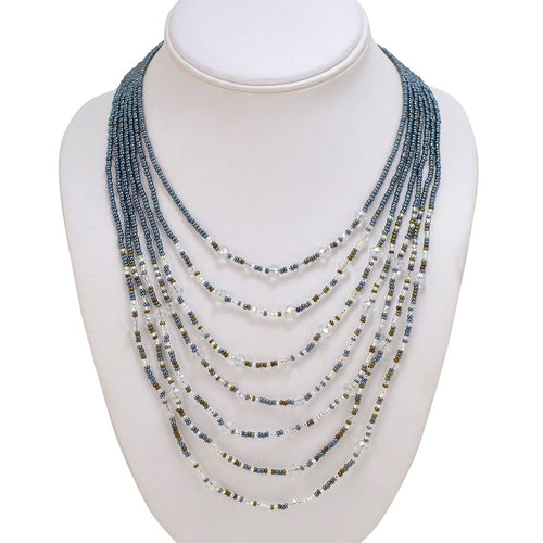Hand Beaded Necklace - Shimmering Gray and Crystal