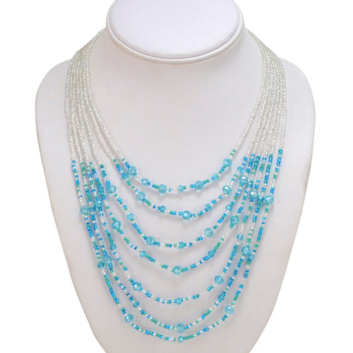 Hand Beaded Necklace - Shimmering Light Blue and Crystal