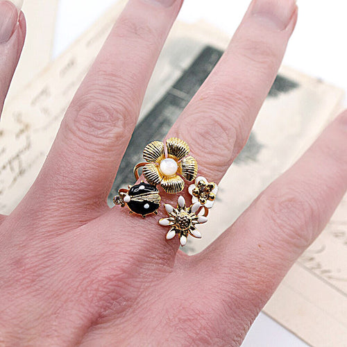 Ladybug and Floral Stackable Ring by Eric et Lydie