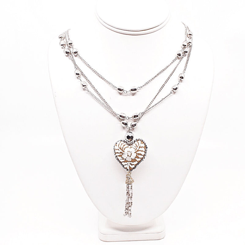Embroidered Heart Mexican Drop Necklace