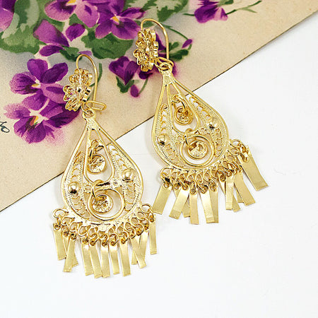 Sterling Silver Frida Kahlo Filigree Earrings with Crystals and Pearls