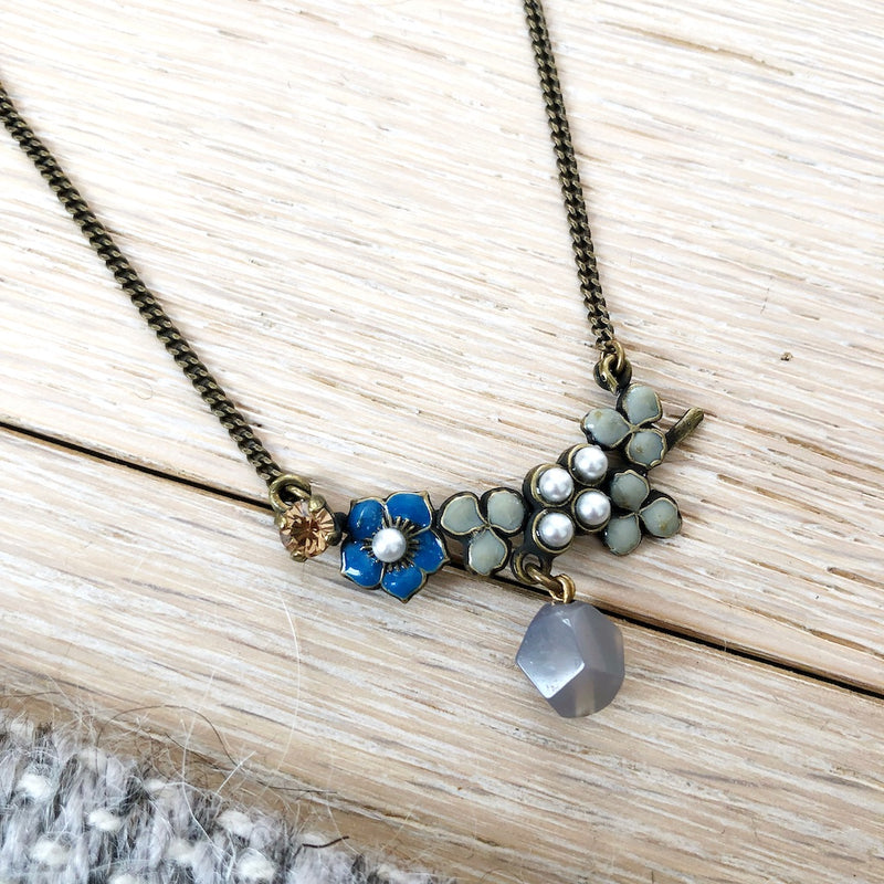 Blue Flower Necklace by Eric et Lydie