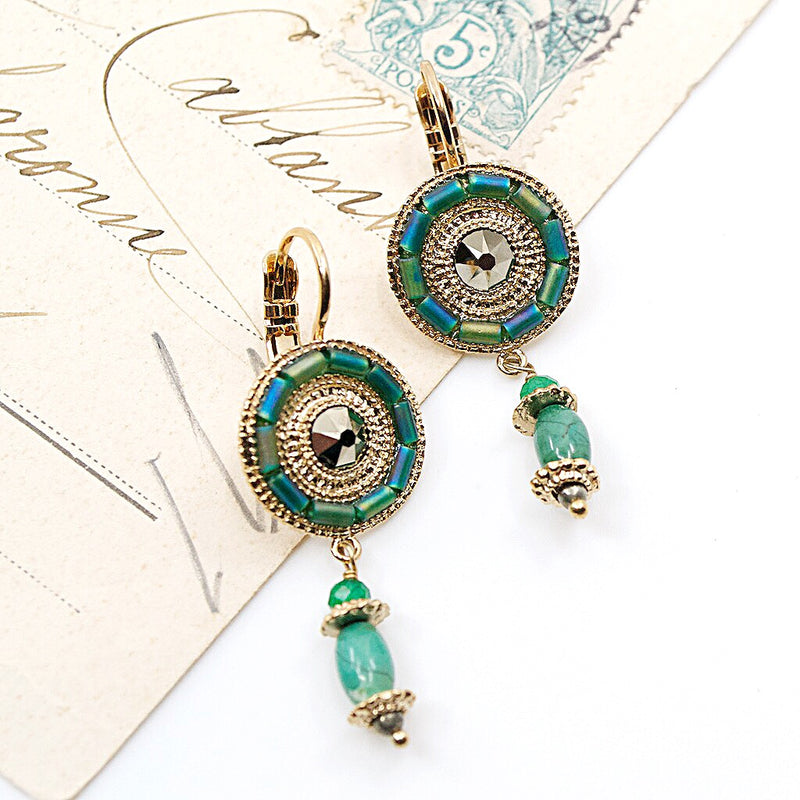 Green Jasper Drop Earrings by Satellite Paris
