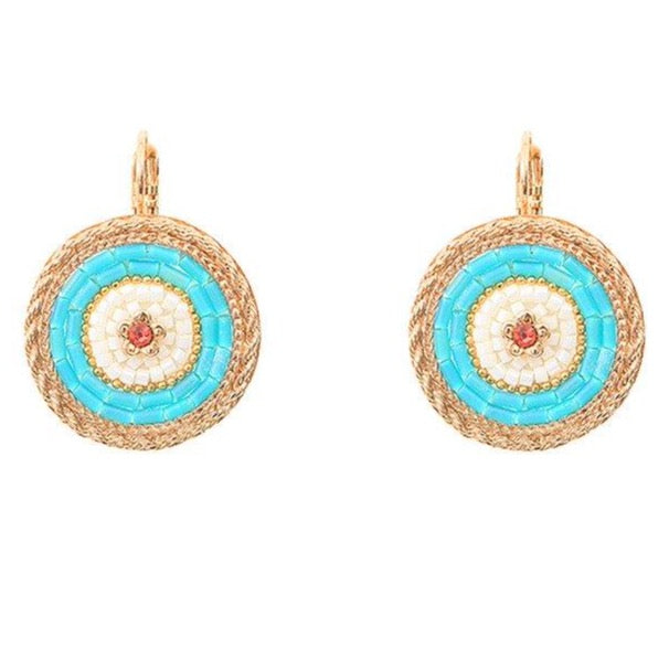 Blue Medallion Drop Earrings by Satellite Paris