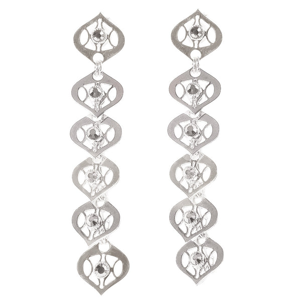 Silver Leaf Dangle Earrings by LK Designs