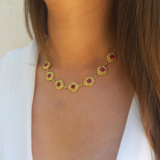 Queen Chocker Necklace in Gold Plated Silver + Ruby - By Ana Moura