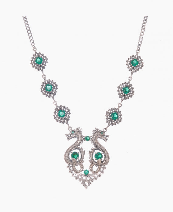 Dragon Queen Necklace in Silver + Emerald - By Ana Moura
