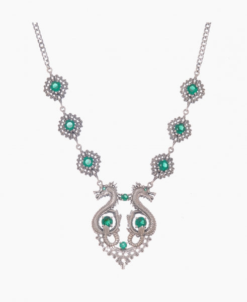 Dragon Queen Necklace in Silver + Emerald **PRE-ORDER SALE**