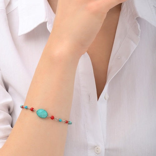 **PRE-ORDER** Turquoise and Coral Bead Bracelet by Satellite Paris