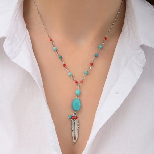 **PRE-ORDER** Turquoise and Coral Feather Necklace by Satellite Paris