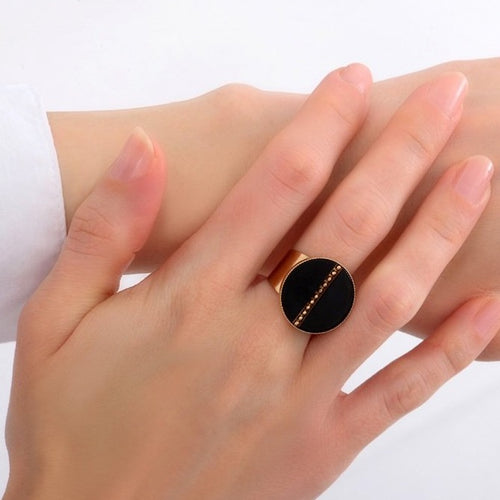 **PRE-ORDER** Onyx and Gold Adjustable Ring by Satellite Paris