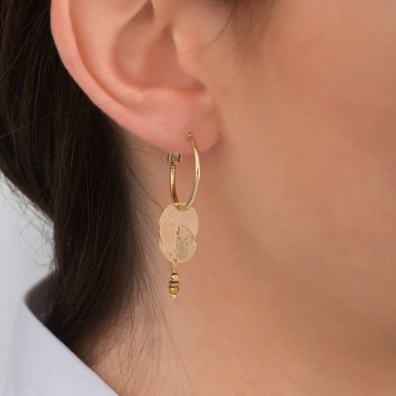 Small Gold Beaded Hoop Earrings by Satellite Paris