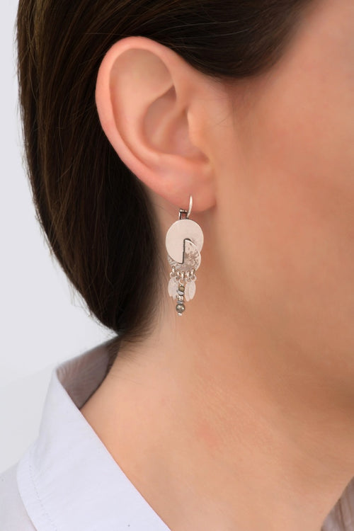 **PRE-ORDER** Intricate Silver and Beaded Drop Earrings by Satellite Paris