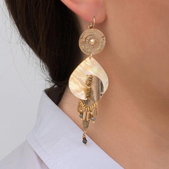 Exquisite Gold Mother Of Pearl Drop Earrings by Satellite Paris