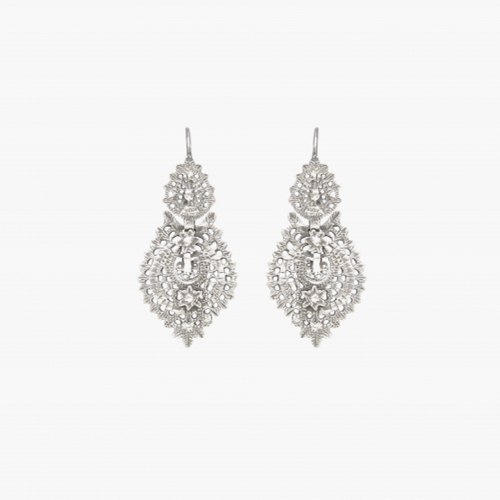 "Sterling Silver Filigree ""Queen"" Earrings - Small"