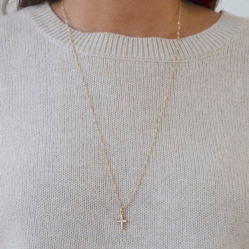 Moonstone Long Cross Drop Necklace