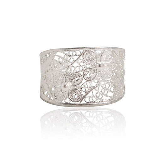 Sterling Silver Filigree Double Flower Ring