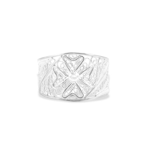 Sterling Silver Filigree Ring with Maltese Cross