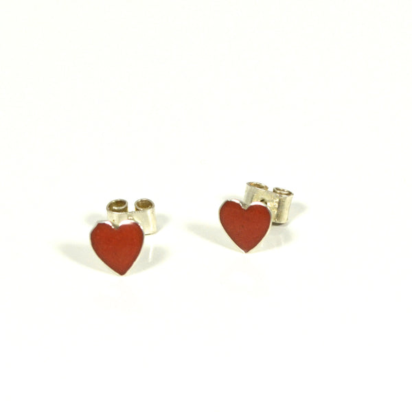 Orange Heart Sterling Silver Posts