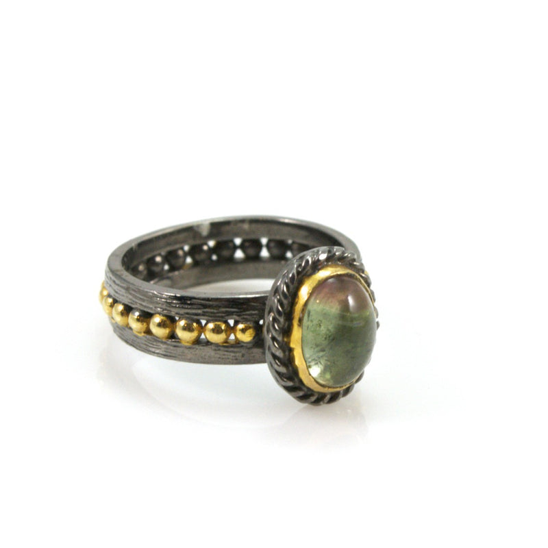Watermelon Tourmaline Sterling Silver Ring