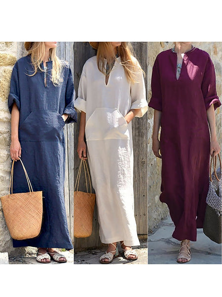 Half Sleeve V Neck Pockets Plus Size Solid Linen Fall Dress